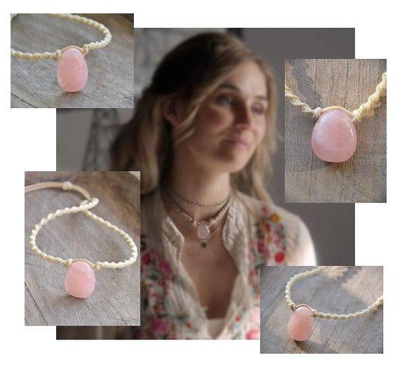 Quarzo rosa collana ciondolo / collana in pietra di Macramedamare