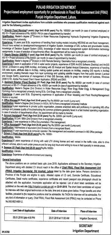 Advertisement of Punjab Irrigation Department Lahore Jobs 2018 for Flood Risk Assessment Unit Vacancies Advertisement Latest-61366