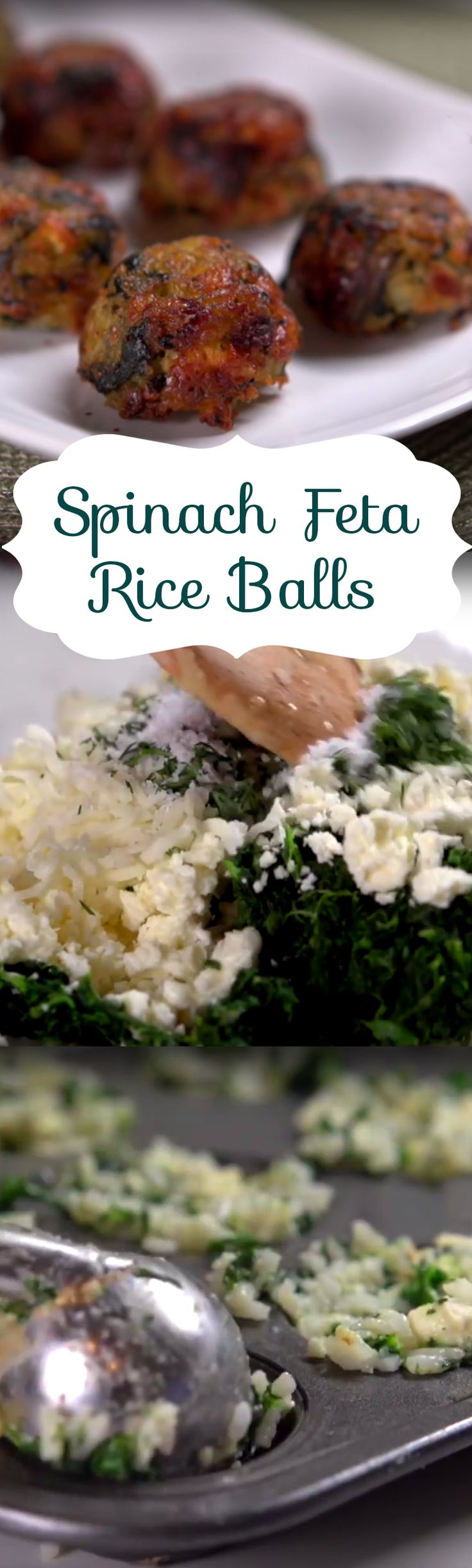 Spinach Feta Rice Balls Recipe | Here's an easy muffin tin recipe that makes for a great appetizer. You'll need onion, garlic, dill, rice, spinach, feta, mozzarella & parmesan cheese butter, eggs, and salt & pepper to whip up this tasty bites. Click to see the short how-to video.