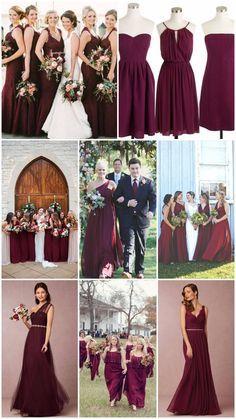 Burgundy/Marsala/Cabernet bridesmaid dresses.