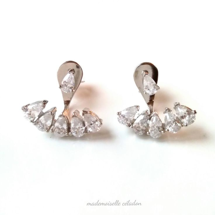 Earrings in silver lobes 925 - Ear cuff earrings-up and down silver massif and zirkonias - Ear cuff / silver 925
