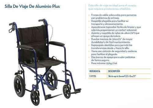 Silla de Ruedas DE VIAJE de ALUMINIO PLUS - Color Azul
