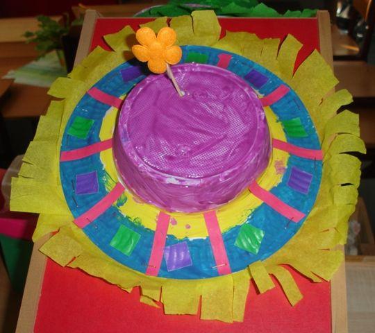 Clownshoedje  Gemaakt van een soepkom en een kartonnen bordje.