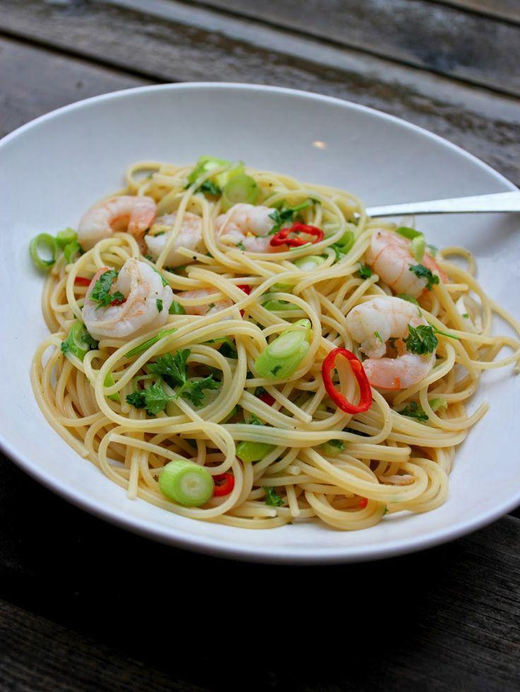 Spaghetti and scampi in a white wine sauce