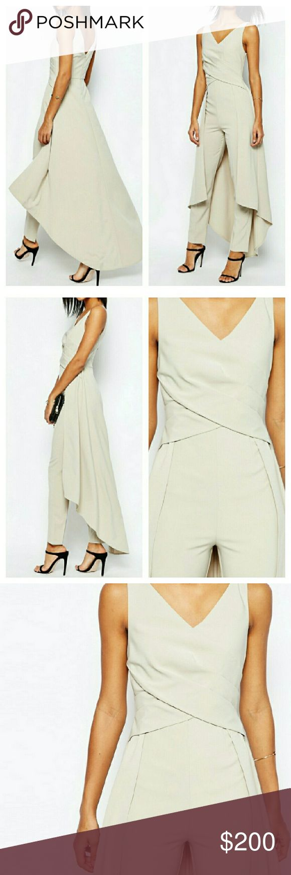 ASOS Skirted Back Dress Jumpsuit Romper Playsuit NWTs. UK 14 / US 10 size. Zip closure. True to size with slight stretch. Color is a greyish cream. COMPLETELY SOLD OUT. Reasonable offers considered. ASOS Pants Jumpsuits & Rompers