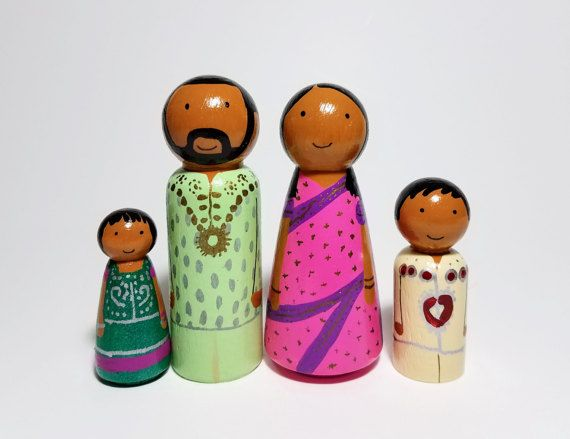 Dollhouse Peg Family in Traditional Indian Clothes Unique