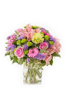 Bouquet Délicat Gerbera Alstroemeria Rose vif Parme Vert - MELODIE