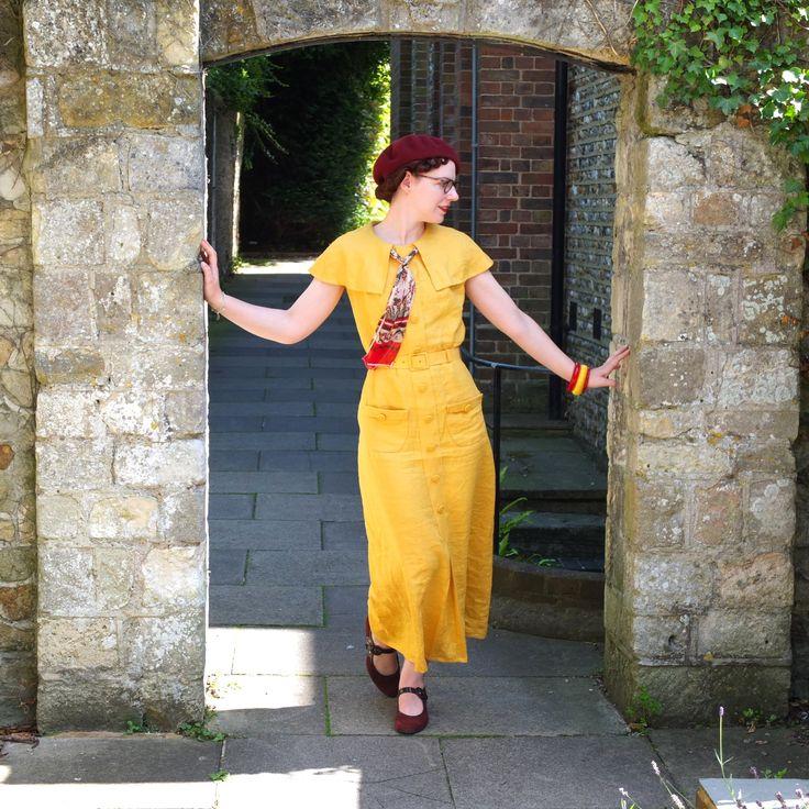 Du Barry Patterns 1230B Cape Dress, early 1930s made in sunshine yellow linen. Full review here:https://missjennyfrances.wordpress.com/2017/08/07/du-barry-patterns-1930s-cape-dress/