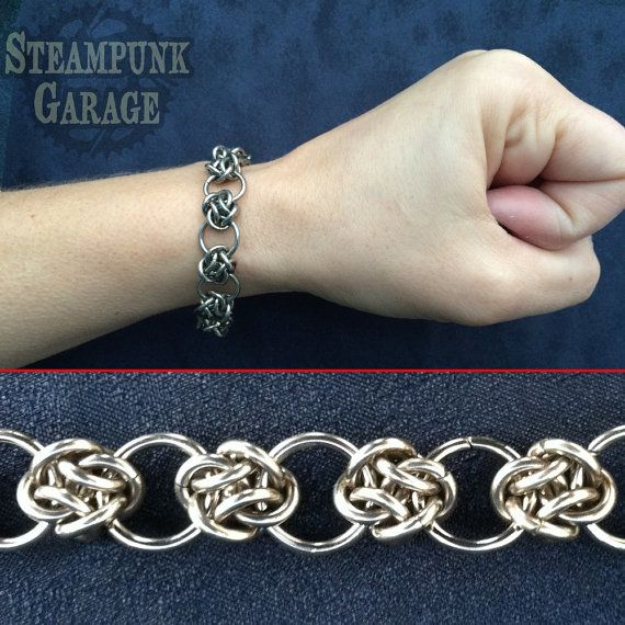 Armband stalen Cloud Cover cirkels Keltische door SteamPunkGarage