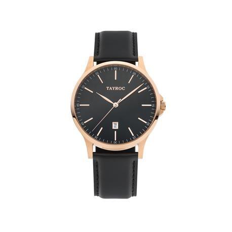 Reloj caballero TAYROC Black Leather. Negro y oro rosado  Si ya nos gustaba el modelo Black Leather, con detalles en dorado nos gusta aún más. Este reloj analógico derrocha elegancia y glamour por su diseño en líneas clásicas, con las que triunfarás con tu look más formal.