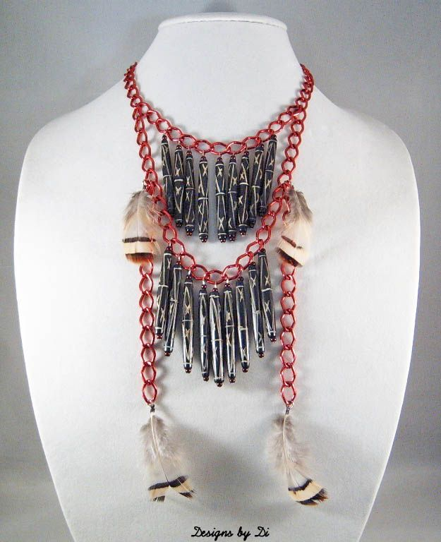 Rosy Red Breastplate Fringe Necklace