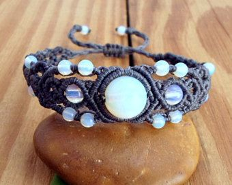 Opalite macrame bracelet, micro macrame, opalite jewelry, hippie bracelet, macrame jewelry, gypsy bracelet, macrame stone, gemstone bracelet