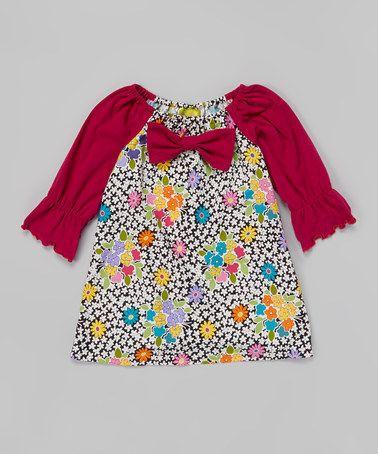 Look what I found on #zulily! Black & Fuchsia Floral Dress - Toddler & Girls #zulilyfinds