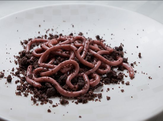 Gelatine worms formed in a flexible straw
