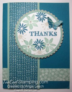 handmade thank you card featuring Blooms & wishes medallion ... patterned papers used in background ... matchng colors stamped in the medallion ...  Stampin' Up