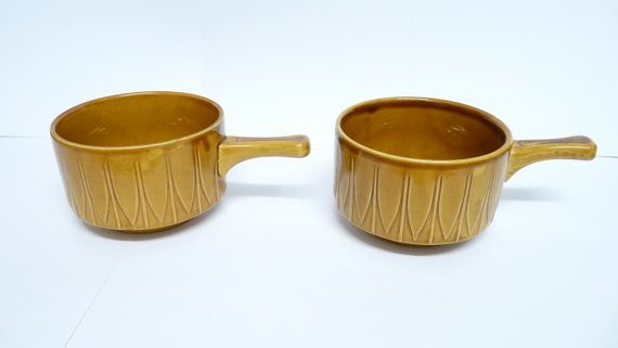Soup Bowls x 2 with Handle Pair Mid Brown by KitschandCollectable