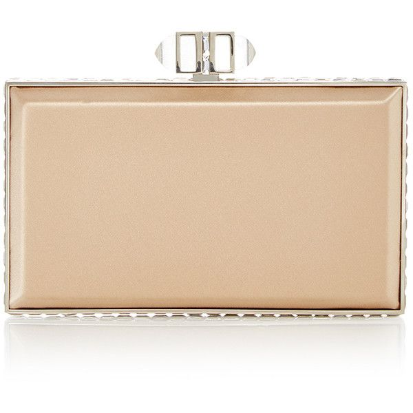 Judith Leiber Couture Nude Rectangle Clutch ($2,195) ❤ liked on Polyvore featuring bags, handbags, clutches, nude purses, beige handbags, metallic clutches, beige purse and nude clutches