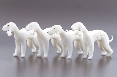 BEDLINGTON TERRIER SET of 4pc Art Lampwork Blown Glass Dog Figurines
