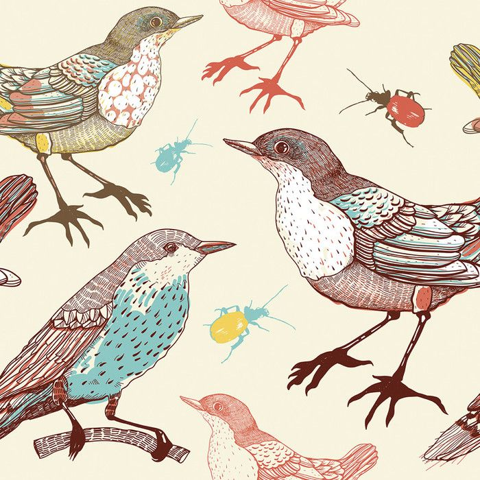 """Birds and Beetles Removable 5' x 20"""" Wallpaper & Reviews   Joss & Main. I'm thinking the window seat?"""