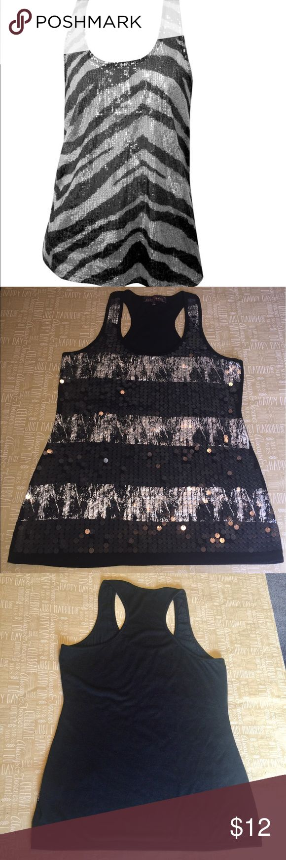 Almost Famous Sequin Razorback Tank Almost Famous Black and Grey Sequin Razorback Tank. Sequins on front. L size. New without tags. Almost Famous Tops Tank Tops