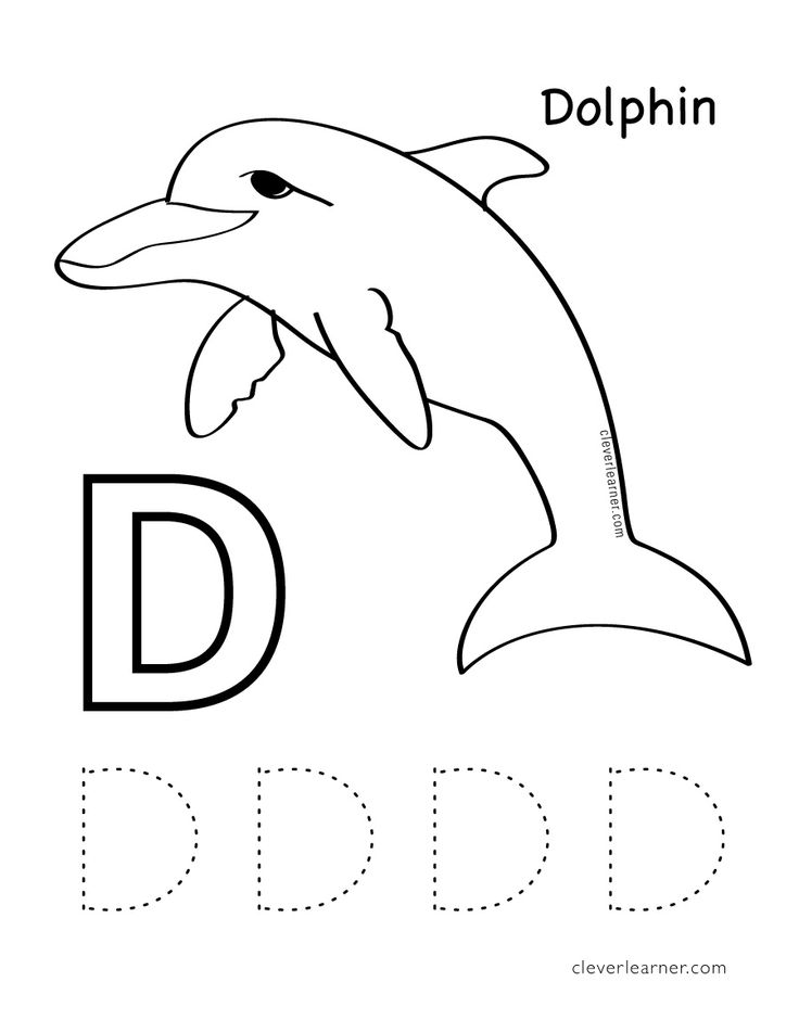 d is for dolphin  free letter practice worksheets for