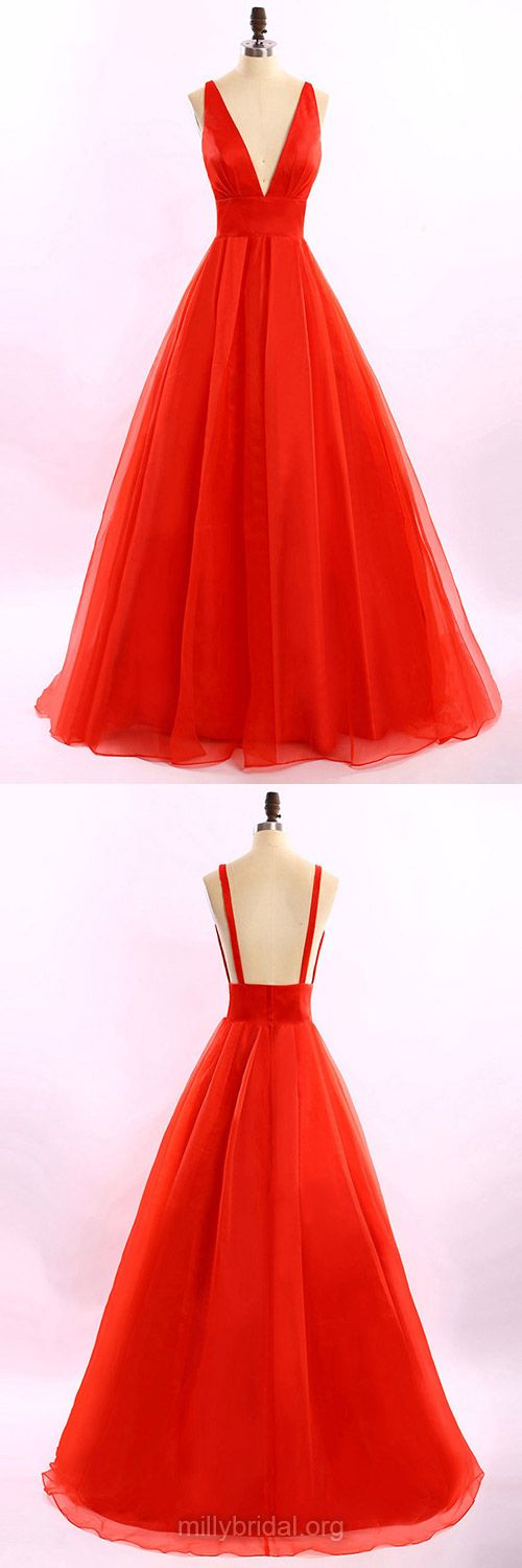 Long Prom Dresses, Princess Formal Dresses, V-neck Party Gowns, Red Prom Dress, Tulle Ruffles Backless Evening Dresses
