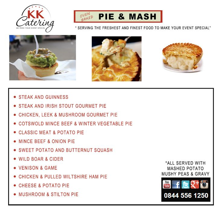 Pie And Mash Menu From KK Catering UK