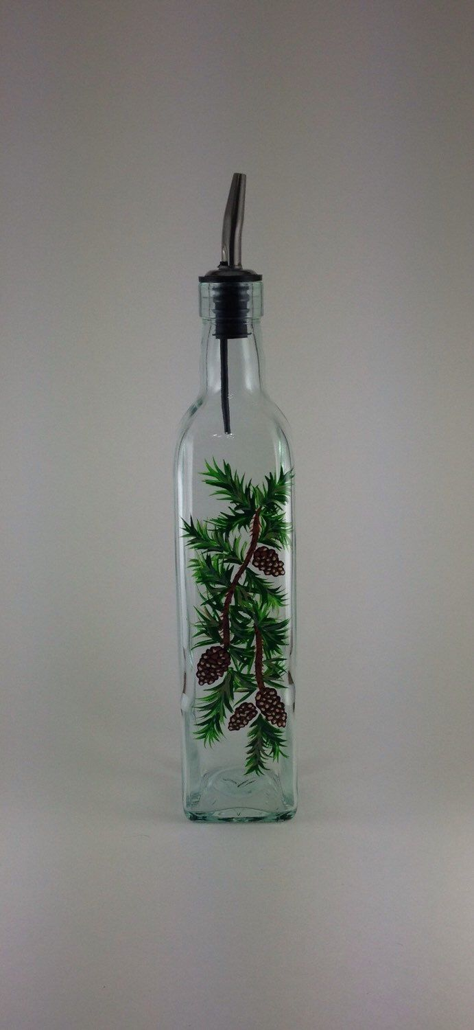 Pine Cones and Greenery Olive Oil or Soap Bottle – Home improvement