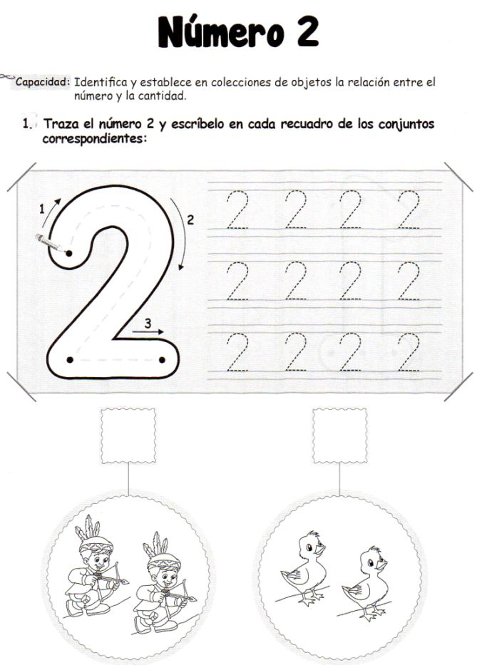 El número 2: 5 años - Material de Aprendizaje