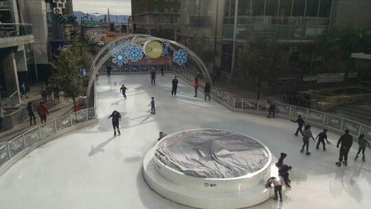 Outdoor ice skating rink - 75 degrees out!  Superbowl  downtown Phoenix