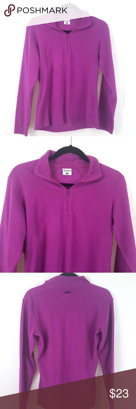 "Womens Columbia Fleece Pullover Purple 1/4 Zip (M) Columbia pullover 1/4 Zip Gently worn. Mild wash wear Polyester Armpit to armpit 18"" flat Womens Size Medium Columbia Tops Sweatshirts & Hoodies"