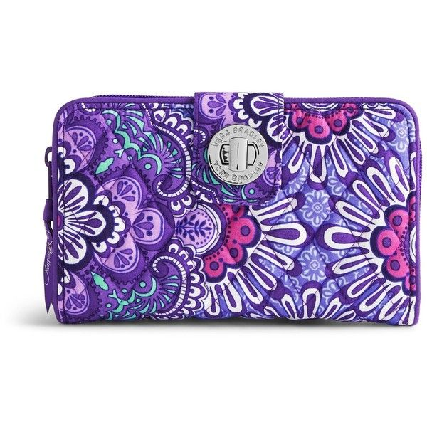 Vera Bradley Turn Lock Wallet in Lilac Tapestry ($49) ❤ liked on Polyvore featuring bags, wallets, lilac tapestry, coin pouch, coin purse, change purse wallet, purple wallet and zippered change purse