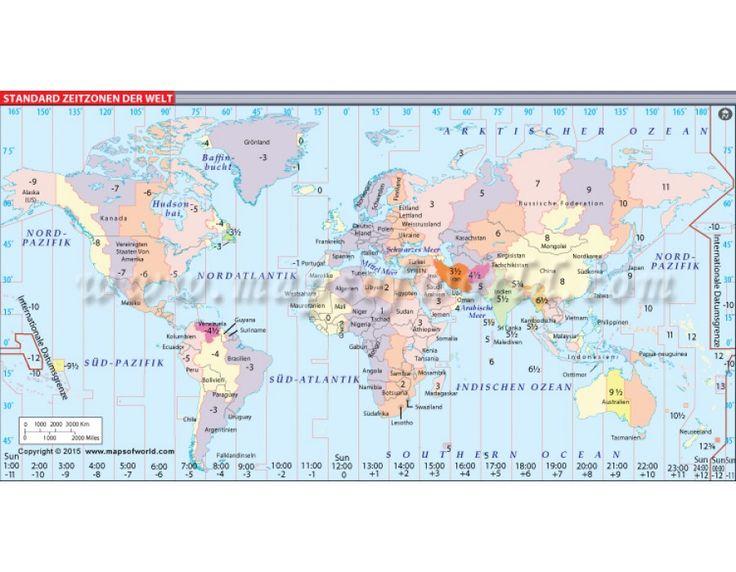 Buy World Time Zone Map (Welt Zeitzonen Karte)