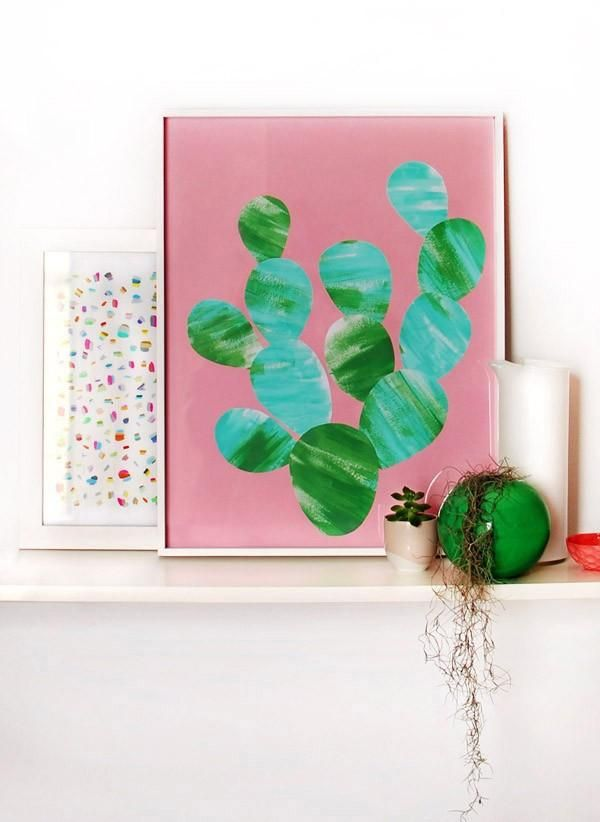 Tutorial make a painted cactus artwork artworks cactus for Faux cactus ikea