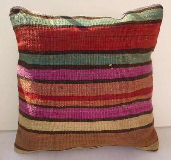 Striped Decorative Throw Pillow Wool Kilim by PillowTalkOnEtsy, $26.00