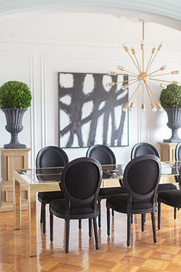 A Divine Dining Room. Brass and boxwoods. St. Louis home of Interior Designer Jessie D. Miller.