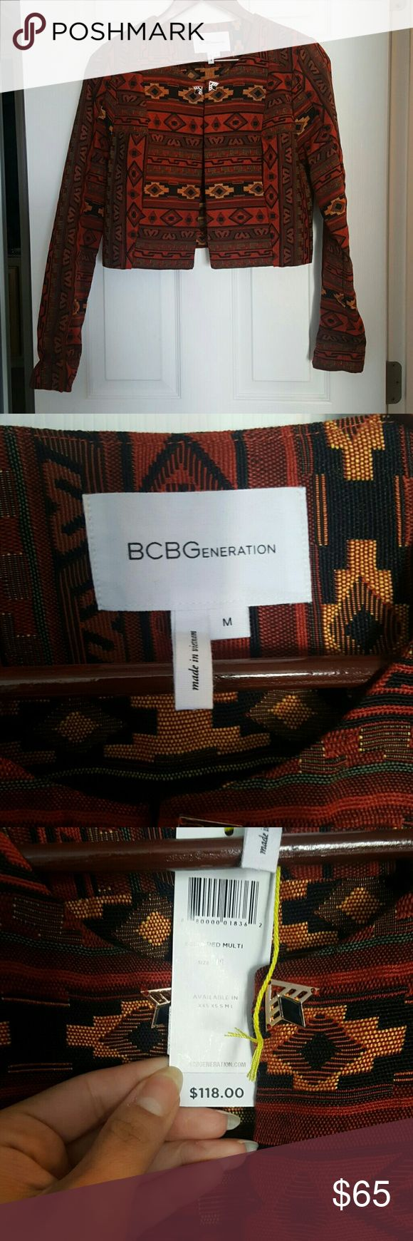 BCBGeneration jacket with aztec print New with tags. Very well made. See matching skirt in next listing. BCBGeneration Jackets & Coats Blazers