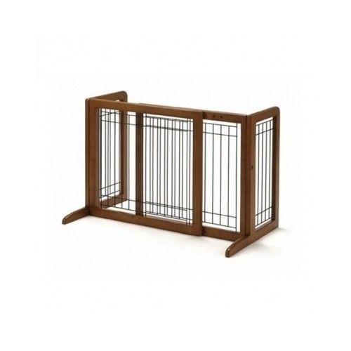 Freestanding Pet Gate Hardwood Dog Barrier Fence Adjustable Baby Safety Small