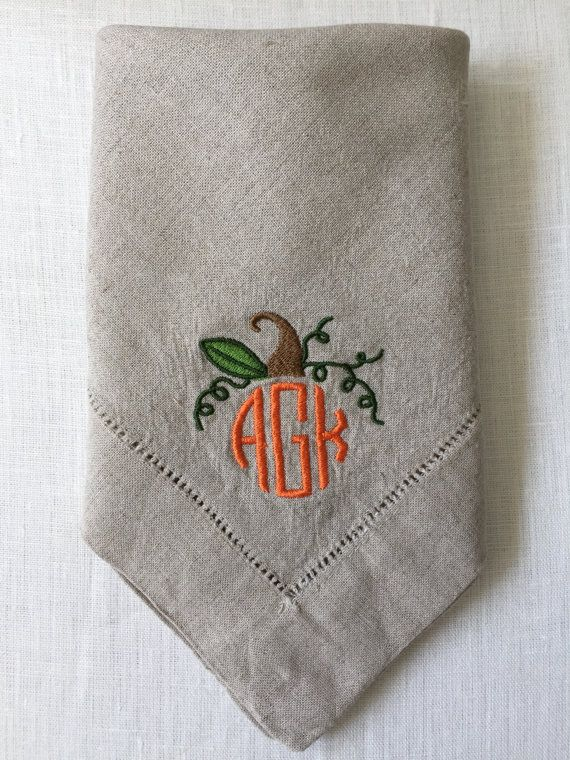 Pumpkin Monogram Embroidered Napkins on Linen. Great throughout the whole fall season and through Thanksgiving. Monogram with pumpkin top is done