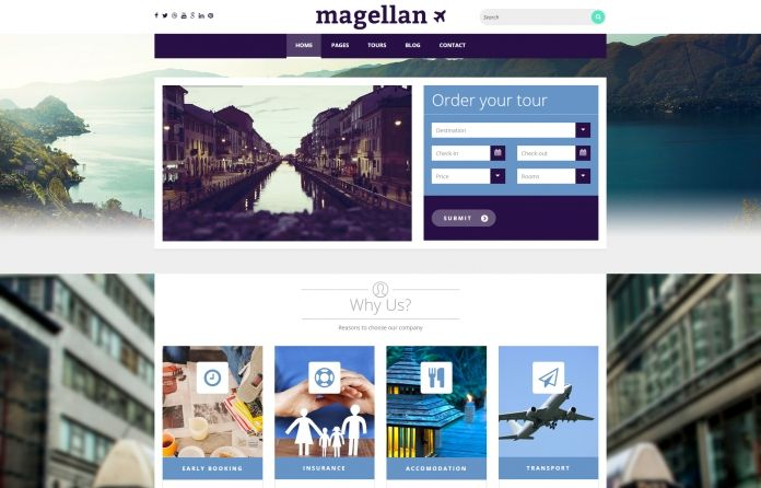 Magellan - Travel #WordPress #Theme with modern, bold, sharp #design and many features to power your #travel related website.