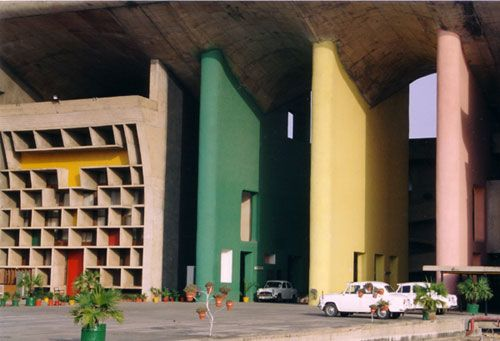 Chandigarh India Colorful architecture of Le Corbusier.  Designed in the 1950's it still looks fun and playful