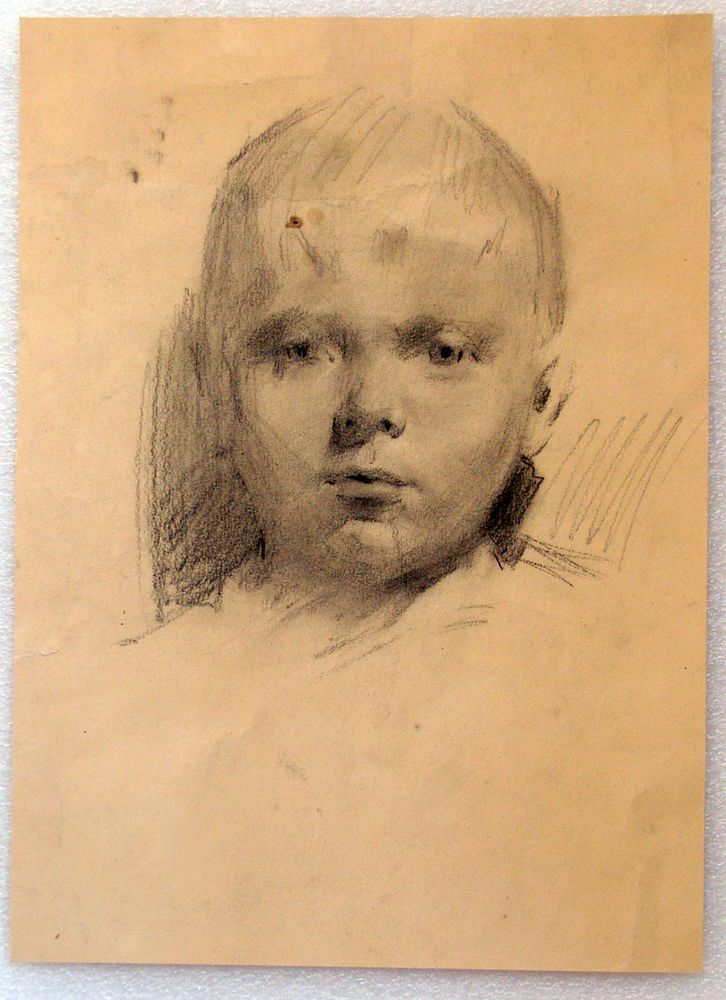 Original Ukrainia Social Realism Soviet USSR Drawing Painting Boy Portrait Old #Realism