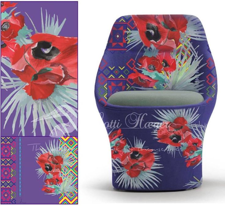 My second collection Mónica, chair here in Papaver/Palm pattern - mi secunda colección, Mónica, aquí en patrón Papaver /Palm.#art#arquitectura #architecture #flowers #pattern #colorful #style #colour #color #textiles #fabric #inredning #Sverige#Colombia#design #designer #decoration #decor #decorating #homedesign #homedecor