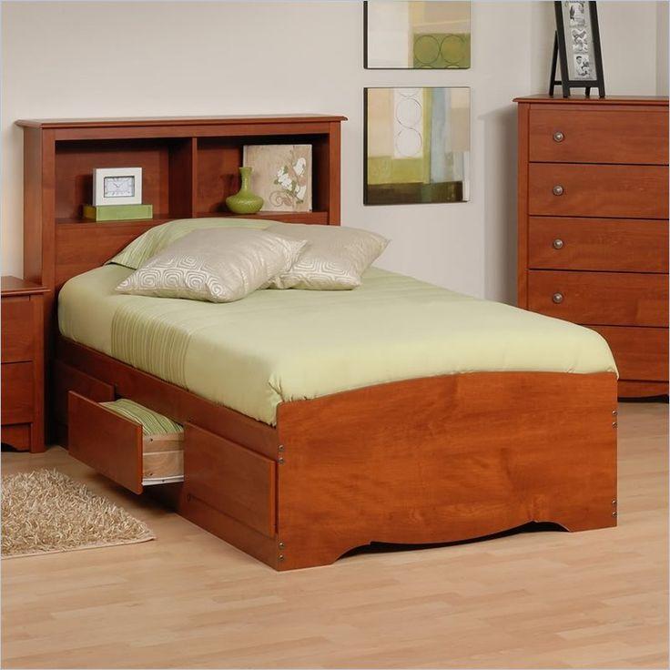 Prepac Monterey Twin Platform Storage Bed with Headboard in Cherry - CBT-4100-KIT - Lowest price online on all Prepac Monterey Twin Platform Storage Bed with Headboard in Cherry - CBT-4100-KIT