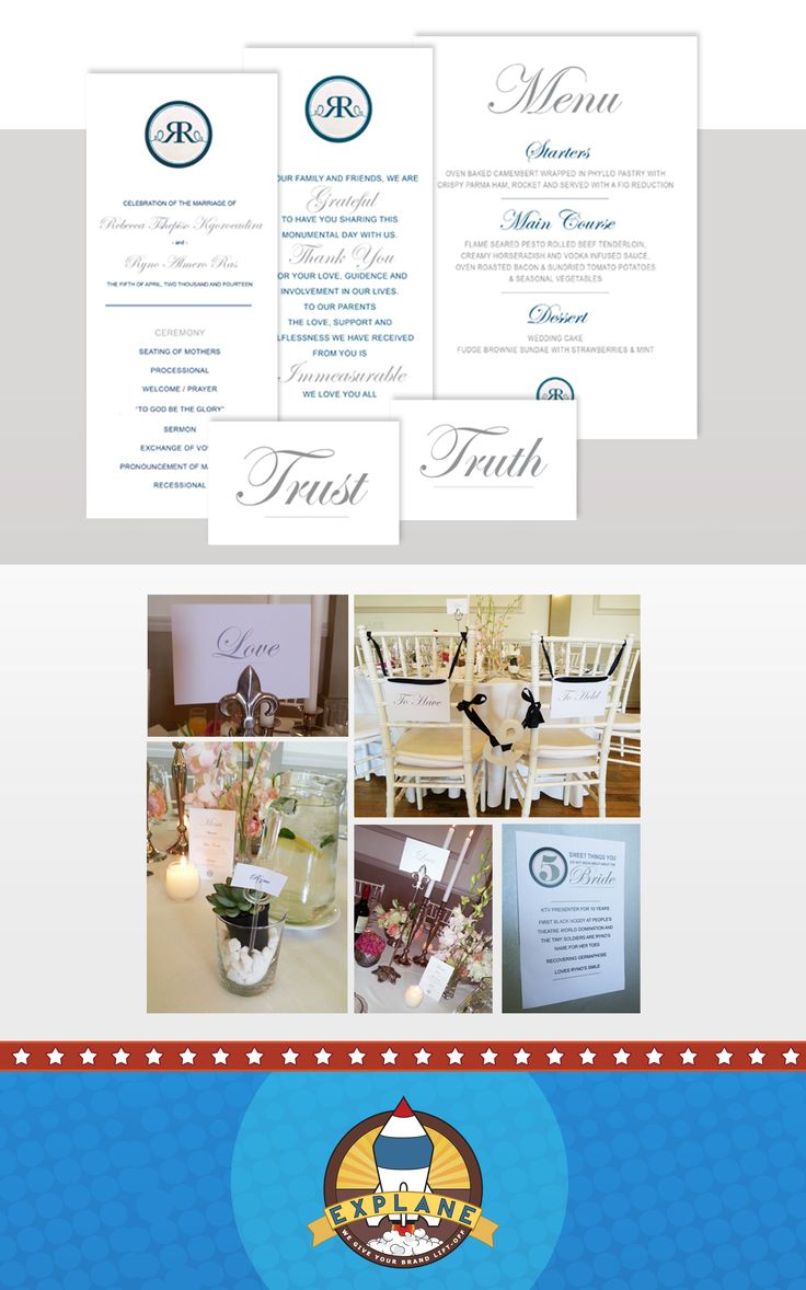 Ryno & Rebecca's wedding was held in Pretoria. The designs did for them consisted of the Wedding Booklet, showing bridal reception, hymns and thank you's. We also did the table stationery, including table names and menu's. { Full Colour Back to Front Print }