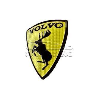 """Эмблема / шильдик с лосем Volvo, на багажник с жёлтым фоном, габариты 6x8 см на сайте онлайн магазина """"SVG Tuning"""""""
