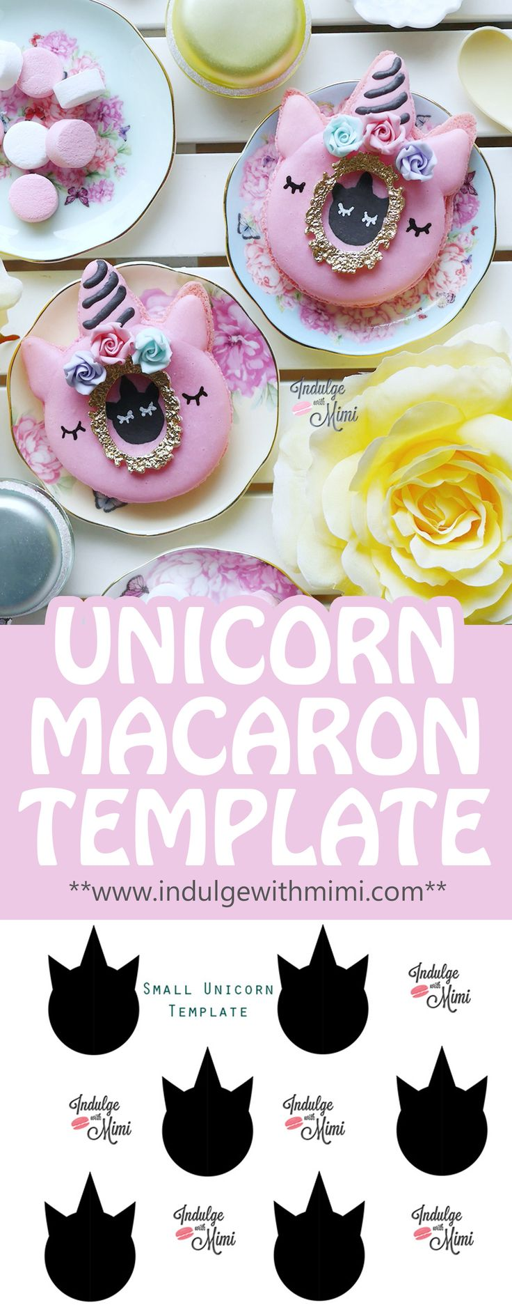 Free Unicorn Macaron Template for you to easily make this season's hottest treat.