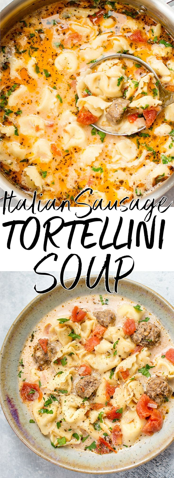 This Italian sausage and tortellini soup recipe is creamy, comforting, and very easy to make with very little prep time. #tortellinisoup #Italiansausage #sausagesoup