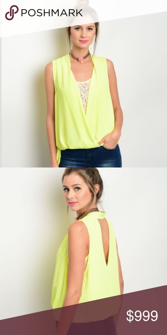 """😍Coming Soon😍 Neon Yellow Surplice Blouse 100% polyester. 22""""length. Perfect spring and summer staple. Tops"""