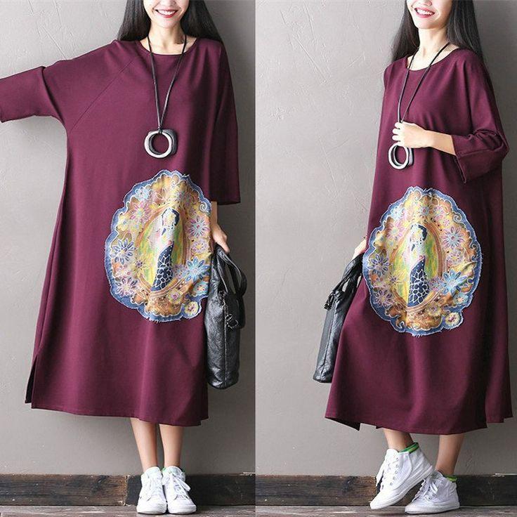 Women cotton loose long maxi dress